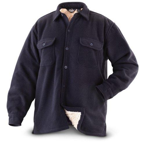 [Guide Gear Men's Fleece-Lined CPO Shirt, Black, XL] (Sherpa Lined Flannel Shirt)