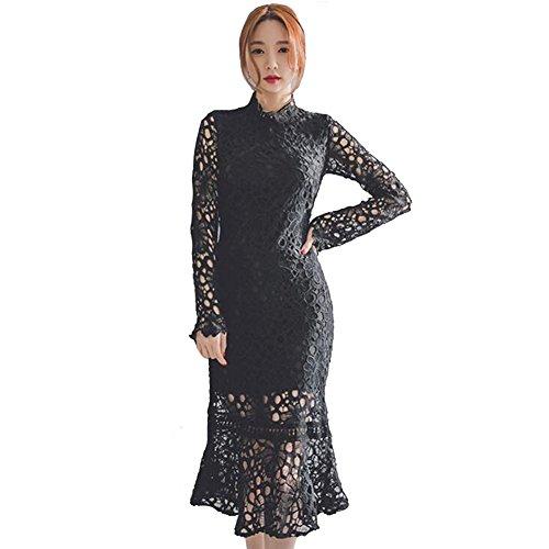Mujer Negro Cordón Cola de pescado Vestir dama Agujeros Largo Mangas Fiesta Vestidos 80Store Negro