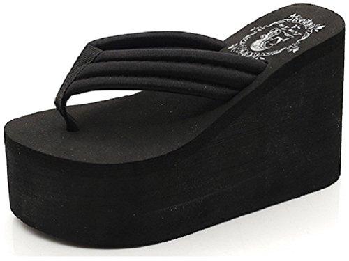 High Platform Wedge Flip-Flops Sandals Black US8 ()