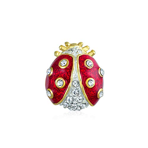 Bling Jewelry Lucky Ladybug Red Gold Plated Enamel Crystal Insect Lapel Push Pin for Women for Teen (Crystal Ladybug Enamel)