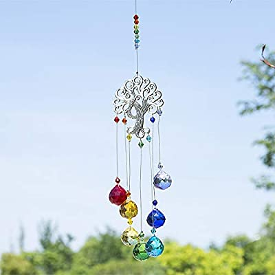 H/&D Crystal Suncatcher Tree of Life Window Ornament with 20mm Crystal Ball Prism