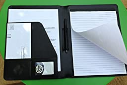 DaBearly PU Leather Portfolio. PU Black Leather Padfolio with Notepad, Pocket Organizer & Pen Holder. Look Professional in Meetings & Interviews.