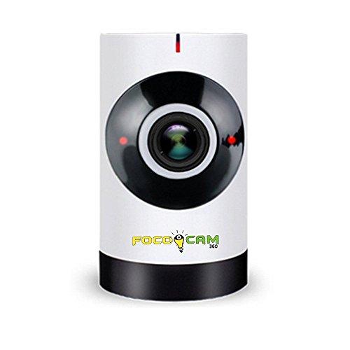 FocoCam 360 Camara de Seguridad WiFi IP, con Visión Nocturna y Lente de 180°. Cámara de Vigilancia y Monitoreo para Hogar...