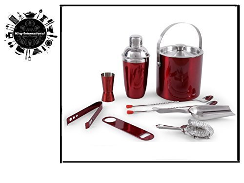 King International Stainless Steel Red Plain Bar Set of 9 Pieces with Cocktail Shaker, Opener, Ice Bucket , Ice Tong, Bar Strainer , Bar Spoon, Ice Scoop, Peg Measure Price & Reviews