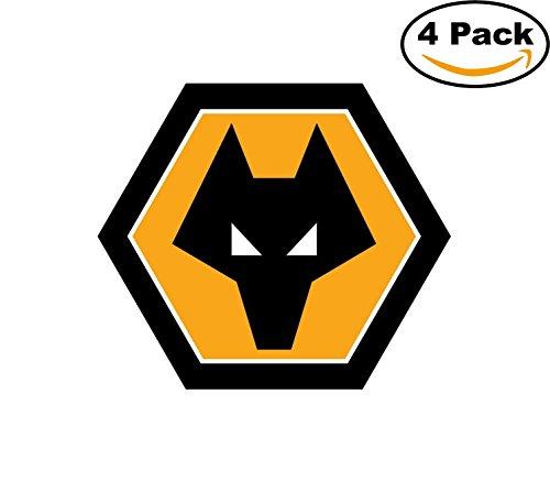 Wolverhampton Wanderers F.C. Vinyl DieCut Sticker Decal Logo Football Soccer 4 Stickers Wolverhampton Football