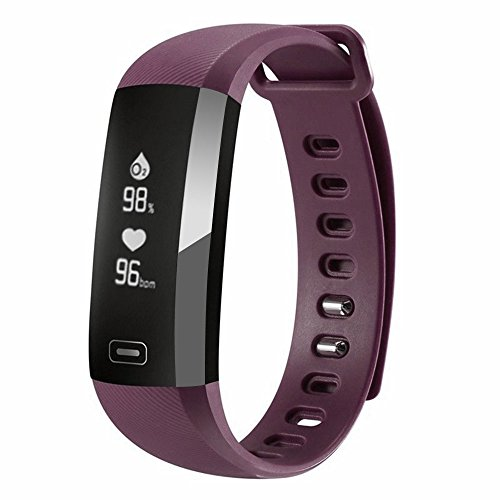 Auntwhale IP67 Waterproof Smart Band Android,IOS,Information Push,Blood Pressure Heart Rate Blood Oxygen Monitoring, Pedometer, Calories, Sleep Monitoring - Purple by Auntwhale
