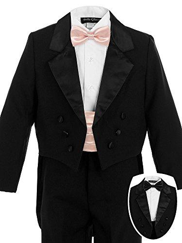 Bello Giovane Boys Black Penguin Tuxedo with Colored Cummerbund 7 Piece Set (5, (Five Piece Tuxedo Set)