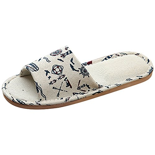 Eastlion Herren Home Floor Soft Indoor Anti-Rutsch-Flachs Blumeschuhe Schuhe,Farbe 2 44-45