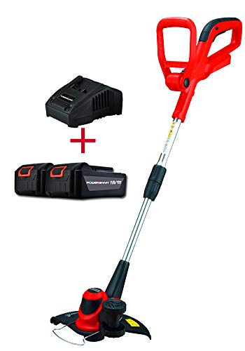 PowerSmart PS76110A 18V Lithium-Ion Cordless String Trimmer/Edger with Easy Feed (Includes Two Batteries & One Charger)
