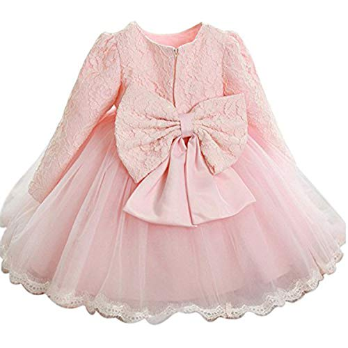 NNJXD Girls' Tulle Flower Princess Wedding Long Sleeve Dress for Toddler and Baby Girl Size 18-24 Months Pure Pink (Best Bow Site On The Market)
