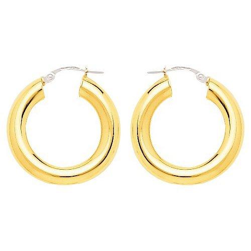 So Chic Bijoux © Boucles d'oreilles Femme Créoles Diamètre 15 mm Fil Rond 5 mm Or Jaune 750/000 (18 carats)