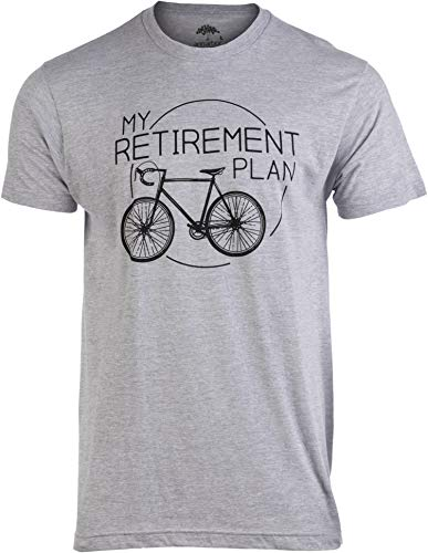 My Retirement Plan (Bicycle) | Funny Bike Riding Rider Retired Cyclist Man T-Shirt-(Adult,L) Heather Grey