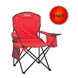 Automotive : Coleman Portable Camping Quad Chair with 4-Can Cooler (Red - 3 Set)