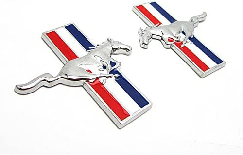 BENZEE 2pcs Sets B350 Mustang Running Horse Fender Side Sticker Car Emblem Badge for Ford Mustang Shelby