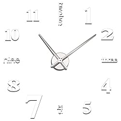 Soledi Wall Clock Decal Modern DIY Large Number Wall Clock 3d Mirror Surface Wall Sticker Clock Home Office Room Art Decor Silver