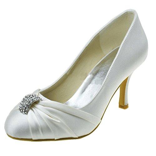 Kevin Mode Mz1235 Femmes Fermé Orteil Satin Nuptiale De Mariage Formelle Soirée Soirées Prom Pompes Chaussures Blanc