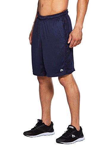 (RBX Active Men's Training Athletic Running Gym Shorts Navy w/Royal XL)