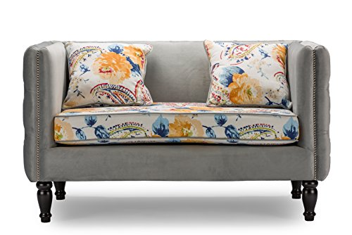 Baxton Studio Penelope Gray Velvet and Paisley Floral Loveseat