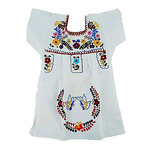 Mexican Infant Dress White Size 1 Tehuacan Dress Day of The Dead Coco Theme Party Halloween Party ()