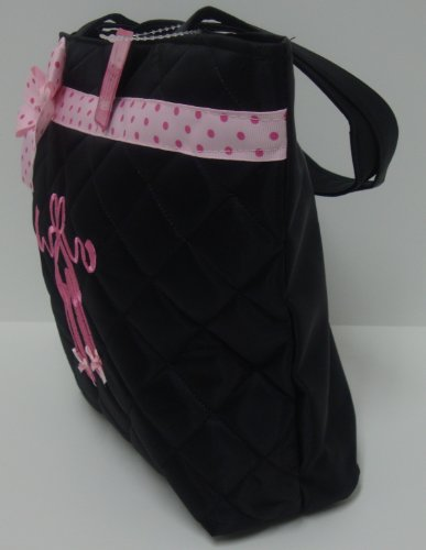 Lil Princess Girl's Quilted Dance Ballet Slippers Tote Bag with Pink Polka Dot Bow, Black