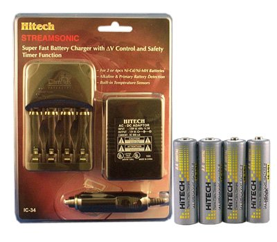 4 Fast Charger with 4 Pack AA Ni-Mh 2400mAh Rechargeable Batteries ()