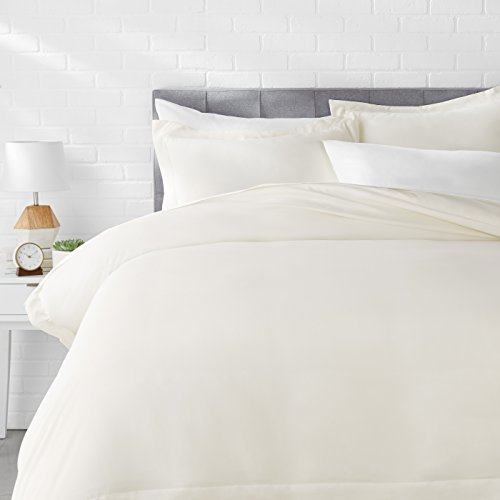 AmazonBasics Microfiber Duvet Cover Bed Set, Lightweight and Soft, King, Cream