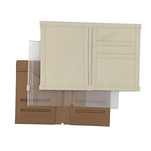 Chris.W 3-Pack Travelers Notebook Inserts - Oxford Fabric Pocket/Kraft File Folder/Transparent Zipper Pouch - Passport Size(4.92 x 3.54)
