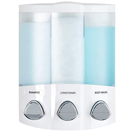 Bath Dispenser Accessory Soap - Better Living Products 76354 Euro Series TRIO 3-Chamber Soap and Shower Dispenser, White