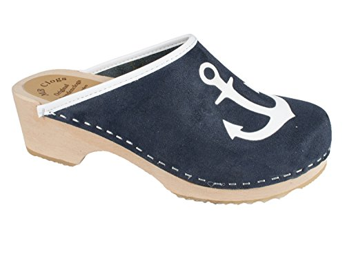 Hanse nubuck leather clogs with anchor 8C7Mls