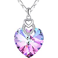 3 Heart Necklace Crystals from Swarovski for Women Girl Pendant with Elegant Box Dainty Anniversary Jewelry