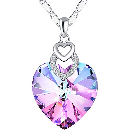 3 Heart Crystals Necklace for Women Girl Pendant with Elegant Box Dainty Anniversary Jewelry Valentines Day Gifts for…