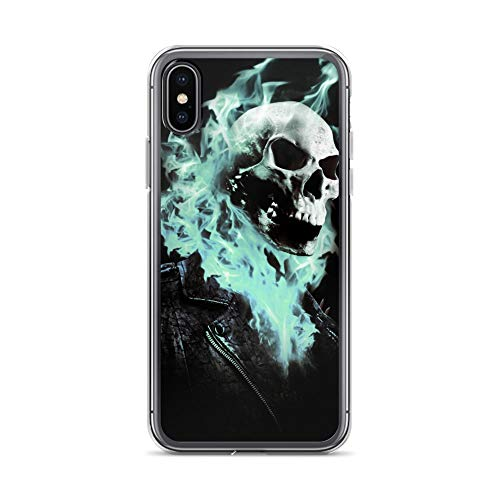 iPhone X/XS Case Anti-Scratch Comic Strip Transparent Cases Cover Ghost Rider Blue Flames Done in Photoshop Comics Comedian Crystal Clear