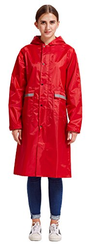 Vcansion Women's Long Light Weight Packable Travling Hiking Outdoor Trench Jacket Raincoat Red (Marpat Coat)