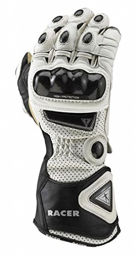 High Racer Glove - Racer High Racer Ladies Racng Sports Leather Motorcycle Gloves - White M