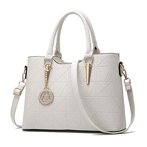 BAG WIZARD Handbags for Women Fashion Ladies Purses PU Leather Satchel Shoulder Tote Bags White