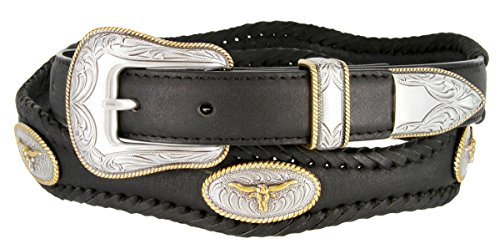 [Golden Steer Rope Conchos Western Leather Scalloped Belt Black 42] (Concho Western Leather)