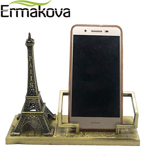 (Architecture - Vintage Metal Paris Eiffel Tower Model Tower Figurine Mobile Phone Holder Phone Stand Office Decor Gift - by GTIN - 1 Pcs - Dove Ceramic Figurine)