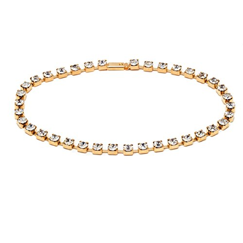18K Gold Plated Gold and Clear Crystal Princess Cut Snap On Tennis Anklet