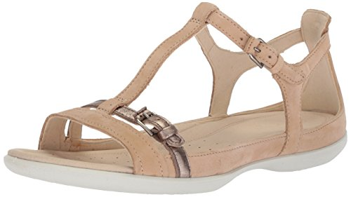 ECCO Women's Flash T-Strap Sandal, Powder/Warm Grey, 38 M EU (7-7.5 US) ()