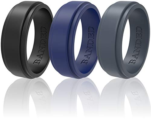 Silicone Wedding Rings 3 Pack Wedding Bands All Sizes for Active Men and Women, Fitness, Engineers, Sports, Weightlifting | Comfortable Fit, Skin Safe Soft Rubber Wedding Rings (Black, Blue, Gray, 6)