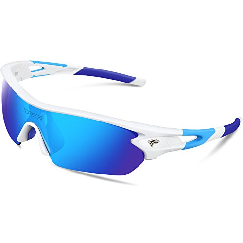 Torege Polarized Sports Sunglasses With 5 Interchangeable Lenes for Men Women Cycling Running Driving Fishing Golf Baseball Glasses TR002 (White&Ice Blue - Prices Bans Sunglasses Ray