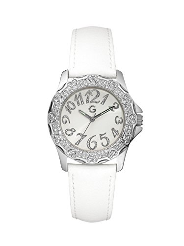 G by GUESS Women's White Stone Heart Watch