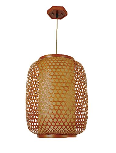 (Liveinu Oriental Classic Handmade Bamboo Art Pendant Lamps Pendant Light for Decor Style Three)
