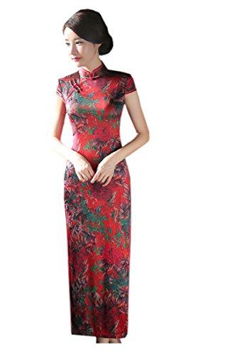 期待する埋め込む残酷なYueLian 夏 チャイナドレス 中国風チーパオ ドレス レーディス 花柄 半袖