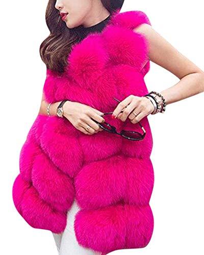 Artificiale Maniche Donna Elegante Pelliccia Gilet Senza Cappotto Giacca Rose Lanuginoso Kasen XPZqw87w