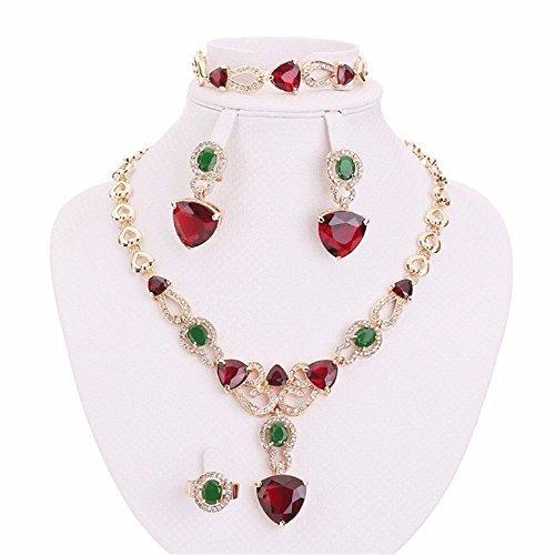 Green Zircon Necklace - Moochi 18K Gold Plated Red Green Cubic Zircon Stones Necklace Earrings Bracelet Jewelry Set
