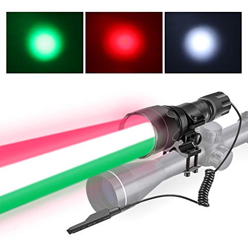 - 3 IN 1 Night Hunting Tactical Flashlight Weapon Light Rail Light with Red Green White Color and LED Lamps Remote Pressure Switch Hunting Kit with Picatinny Rail Mount
