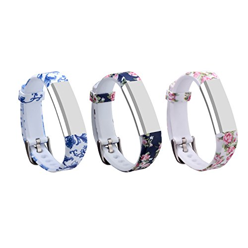 I-SMILE 3PCS Newest Replacement Wristband With Secure Clasps for Fitbit Alta Only(No tracker, Replacement Bands Only) (2pcs flowers) (Fitbit Zip Best Price)
