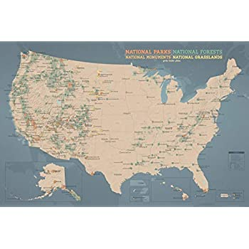 US National Parks, Monuments & Forests Map 24x36 Poster (Tan & Slate Blue)