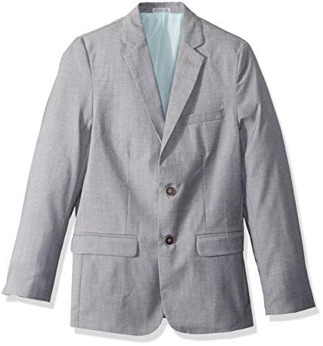 Calvin Klein Big Boys' Linen Blazer Jacket, Textured Light Grey, 12